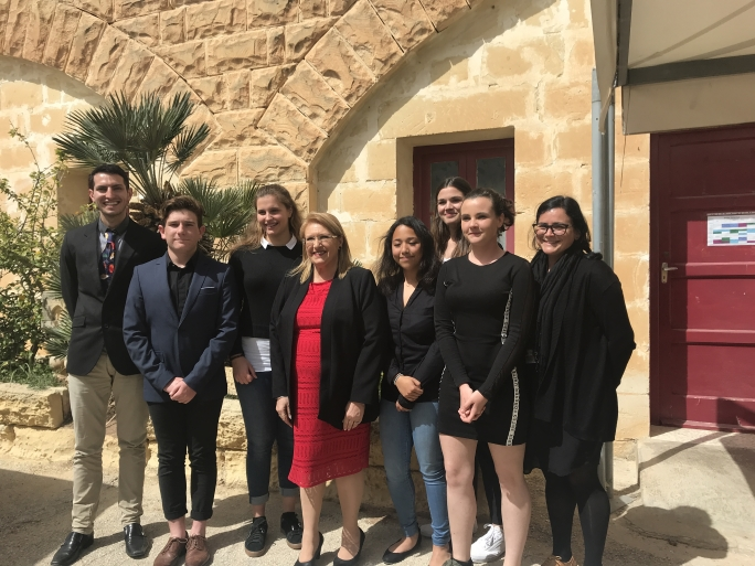 Anti-trafficking students meeting H.E The President of Malta
